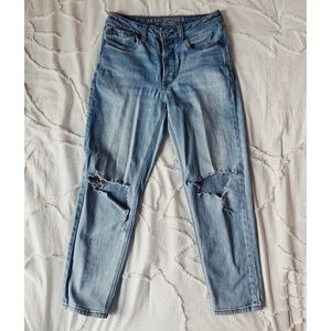 distressed ankle denim jeans